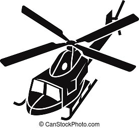 Military helicopter top view icon, simple style