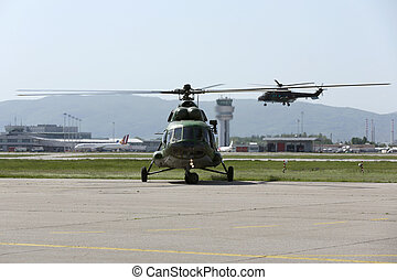 Military helicopters at the airport - Military helicopters...