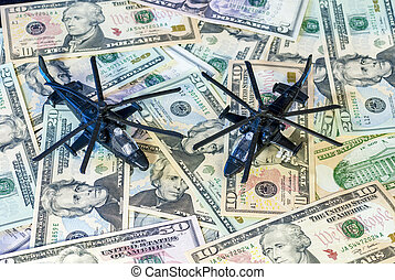 Military Helicopters landed on US currency - Toy Helicopters...