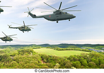 military helicopters - Flight of aircraft in the sky, a...
