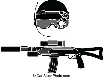 military helmet and assault rifle