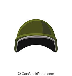 Military helmet icon, cartoon style