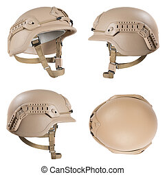 Military helmet isolated white background