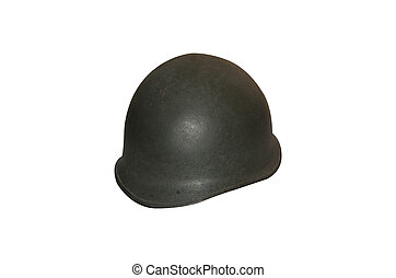 military helmet - Old Military Helmet Isolated on White