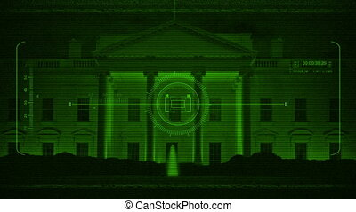 Military HUD Scanning White House At Night - HUD display...
