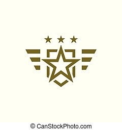 Military icon on white background. Armed symbol. Soldier emblem with star. Army logo