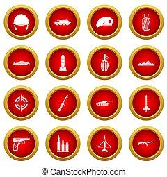 Military icon red circle set