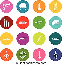 Military icons many colors set