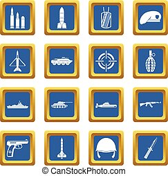 Military icons set blue