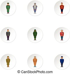 Military icons set, cartoon style