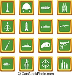 Military icons set green