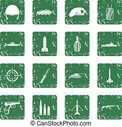 Military icons set grunge