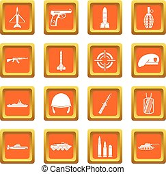 Military icons set orange