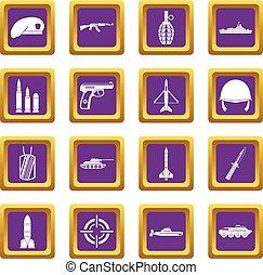 Military icons set purple