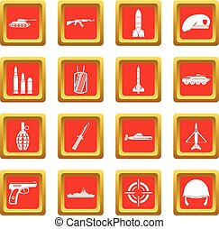 Military icons set red