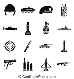 Military icons set, simple style