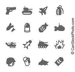 Military Icons - Simple Set of Military Related Vector Icons...