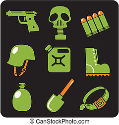 Military icons - vector set.