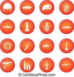 Military icons vector set