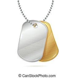 Military ID Tag Army Medallion Pair. Vector