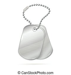 Military ID Tag Silver Army Medallion Set. Vector