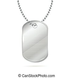 Military ID Tag Silver Army Medallion. Vector