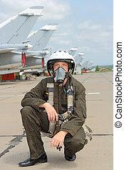 military irányít, alatt, egy, sisak, közel, a, repülőgép