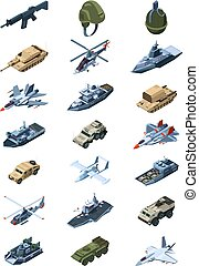 Military isometric. Security guards in uniform soldiers with tanks all-terrain vehicle machine guns grenades shields vector collection