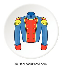 Military jacket of guards icon, cartoon style