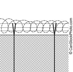 Military jail fence. Vector barbed spike wire. Safety metal net barrier. Prison iron gate security fencing. Simple graphic illustration