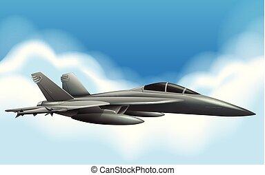 Military jet flying in sky