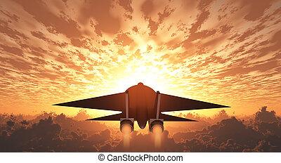 Military Jet  in Flight Sunrise or sunset