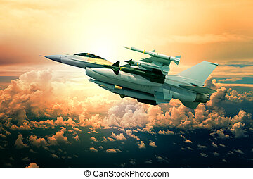 military jet plane with missile weapon flying against sunset...