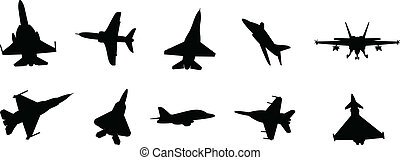 military jets - modern military fighter jet silhouettes