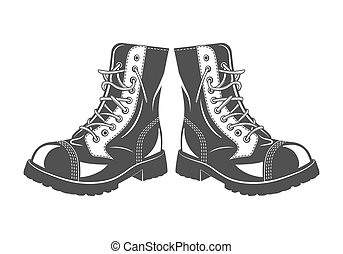 Military jump boots - Monochrome military jump boots on a ...