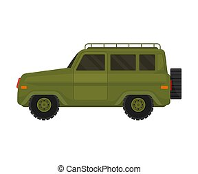 Military khaki jeep. Vector illustration on a white background.