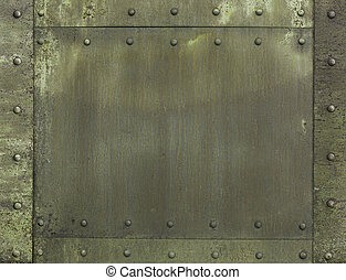 military khaki painted metal armor background - military...