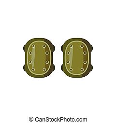 Military knee pads icon, cartoon style