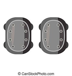 Military knee pads icon, gray monochrome style