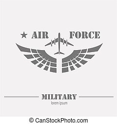 Military logo and badge. Air force. Graphic template