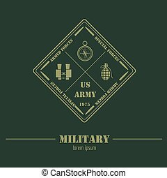 Military logo and badge. binoculars, compass, grenade, explosive, bomb, detonator. Graphic template