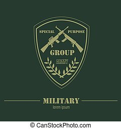 Military logo and badges Graphic template. Vector ...