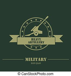Military logo, badges. Cannon Graphic template