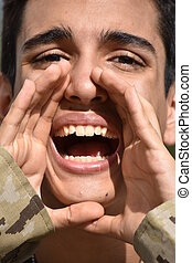 Military Male Soldier Yelling