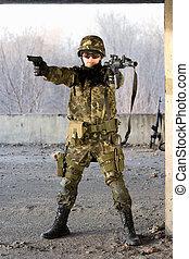 Military man aiming