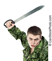 Military Man Attack With Knife