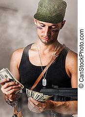 military man counting money