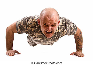 military man exercise isolated in white
