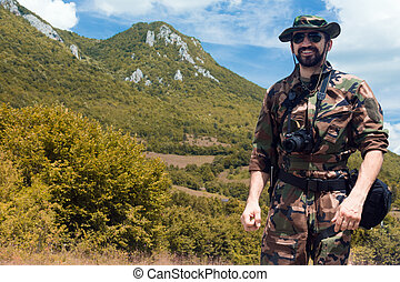 military man in nature
