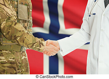 Military man in uniform and doctor shaking hands with national flag on background - Norway
